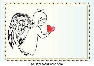amore, invitational, angelo, scheda, cuore, pregare