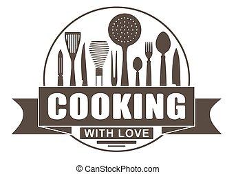 amore, kitchenware., cottura, o, utensili, silhouette, vettore, disegno, logotipo, emblema, bandiera, tuo, rotondo