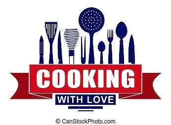 amore, kitchenware., cottura, tuo, utensili, silhouette, vettore, disegno, logotipo, emblema, bandiera, o, rosso