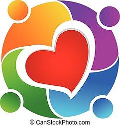 amore, lavoro squadra, logotipo