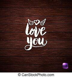 amore, legno, testo, fondo., textured, bianco, lei