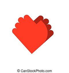 amore, logo., simbolo, due, emblem., palma, mani, amicizia