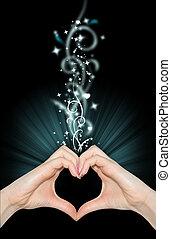 amore, magia, mani, di, forma cuore