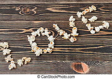 Amore, malsano, cibo, struttura, fondo,  popcorn
