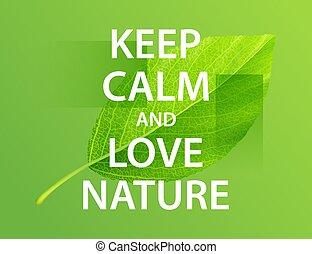amore, manifesto, nature., motivazionale, custodire, calma
