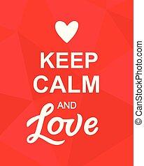 amore, manifesto, valentines, custodire, calma, giorno