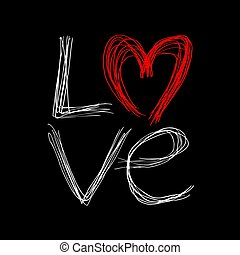 amore, messaggio, bello, arte, disegno