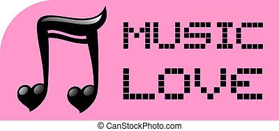 amore, musica, adesivo