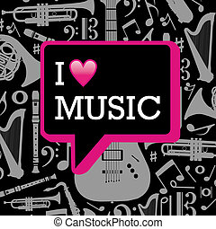 amore, musica, illustration.