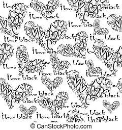 amore, nero, concetto, cuori