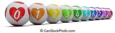 amore, palle, lotteria, colors., modellato
