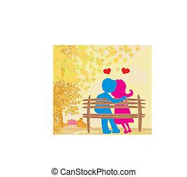 amore, parco, paesaggio autunno