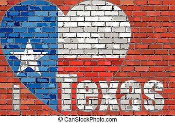 amore, parete, texas', messaggio, mattone, 'i