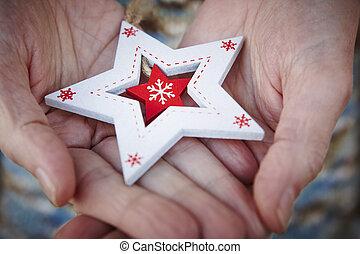 amore, persone, legno, star., anziano, tenerezza, fra, natale, handcrafted