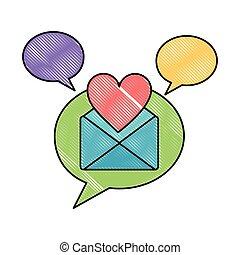 amore, romantico, comunicazione, discorso, messaggio, bolla