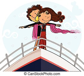 amore, romantico, ponte, coppia, atteggiarsi, nave