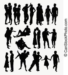 amore, romantico, silhouette, coppia