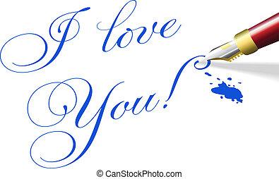 amore, romantico, valentina, penna, parole, lei