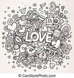 amore, scarabocchiare, illustrazione, mano, vettore, disegnato, cartone animato