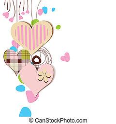 amore, scheda, appendere, decorativo, cuori