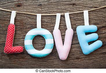 amore, scheda, concetto, idea, decorazione, legno, fondo, casa