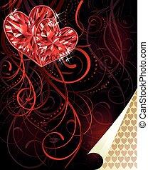 amore, scheda, due, vettore, cuori, rubino