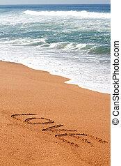 amore, scritto, spiaggia