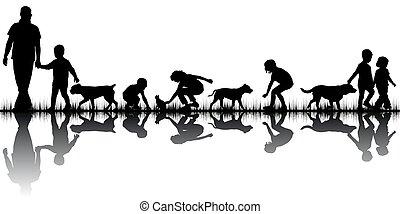 amore, silhouette, concetto, animali, persone