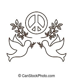 amore, simbolo, pace, isolato, colombe, icona