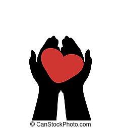amore, simbolo, presa, heart., mani