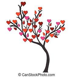 amore, sopra, albero, fondo, bianco, scheda