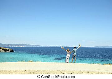 amore, spiaggia, coppia
