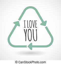 amore, testo, isolato, segno, riciclare, lei