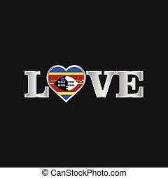 amore, tipografia, bandiera, vettore, disegno, swaziland