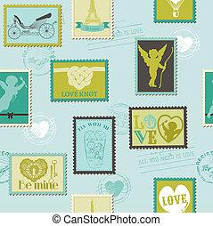 amore, -, valentina, invito, francobolli, vettore, fondo, album, disegno