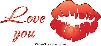 amore, valentina, labbra, scheda, parole, rosso