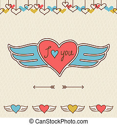Amore, valentine, cartolina, mano, disegnato, doodles,...