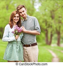 amore, valentine, coppia, parco, sorridere., giorno