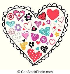 amore, valentines, augurio, mano, disegnato, icon., giorno, scheda