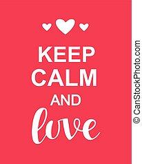 amore, valentines, tipografia, custodire, calma, giorno