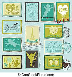 amore, vendemmia, -, valentina, invito, francobolli, vettore, album, disegno