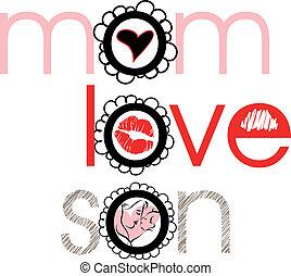 amore, vettore, son., illustrazione, mamma