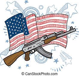 amores, rifles de asalto, bosquejo, américa