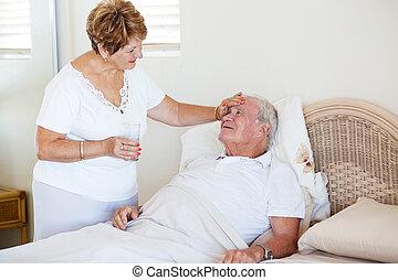 amoroso, 3º edad, esposa, reconfortante, enfermo, marido