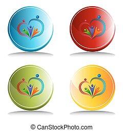 amoroso, botón, icono, gente
