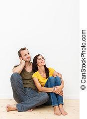 amoroso, casa, pareja, piso, Sentado