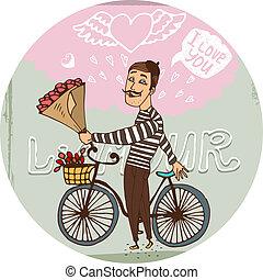 amoroso, frenchman, en una bicicleta, con, rosas rojas