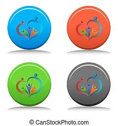 amoroso, gente, icono, botón
