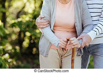 amoroso, hombre mayor, porción, envejecimiento, esposa, aire libre