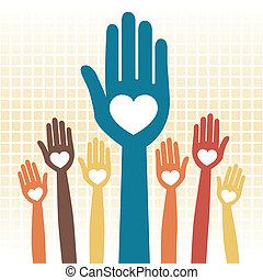 amoroso, manos, cuidado, design.